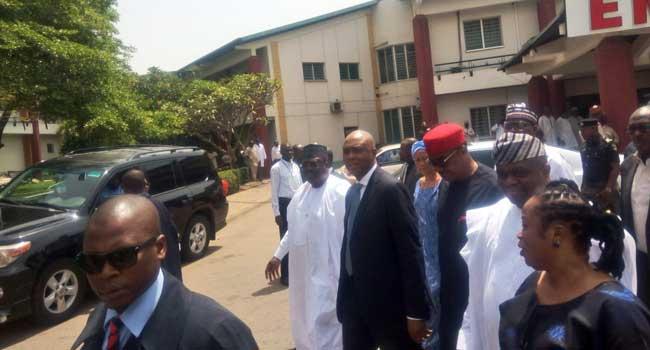 Saraki Leads Senators To Visit Dino Melaye In National Hospital