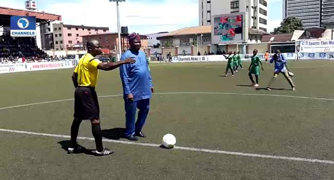 Governor Ambode Makes Ceremonial Kick-Off At Channels Kids Cup Final