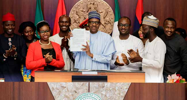 President Buhari Signs 'Not Too Young To Run' Bill