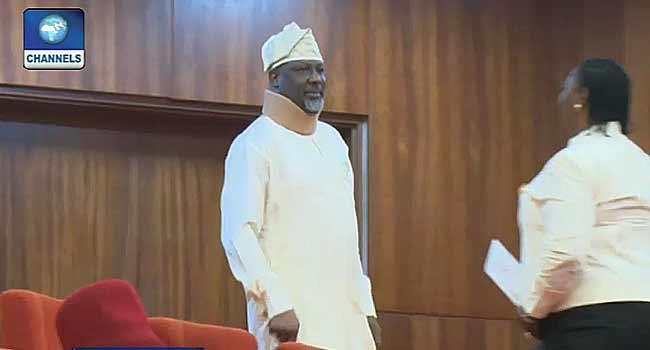 Dino Melaye Resumes Plenary With Walking Stick, Neck Brace