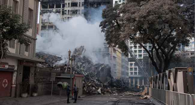 Fire Guts Sao Paulo Tower Used By Squatters