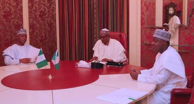 Buhari, Saraki, Dogara In Closed Door Meeting