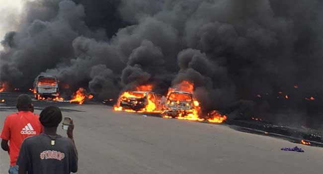 10 burnt to death, 57 vehicles destroyed by tanker fire
