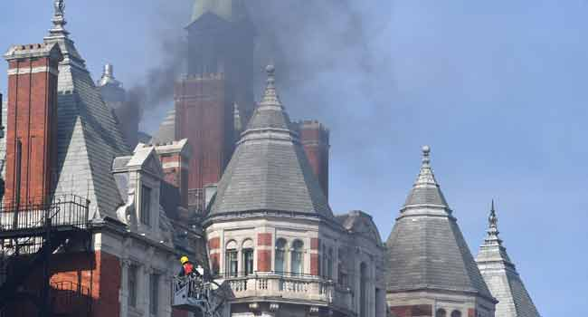 Firefighters Tackle Blaze At London Hotel