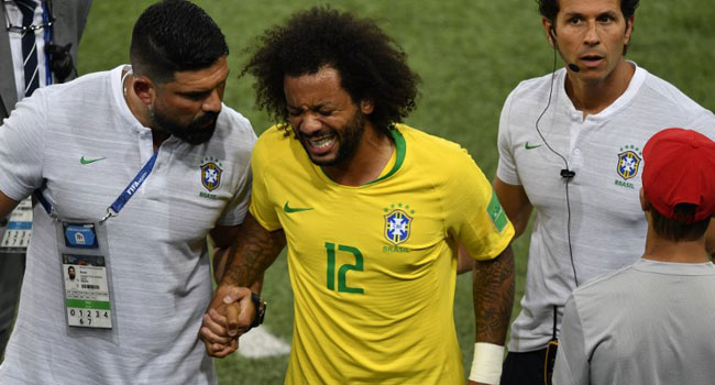 Brazil's Marcelo Forced Off Injured Against Serbia