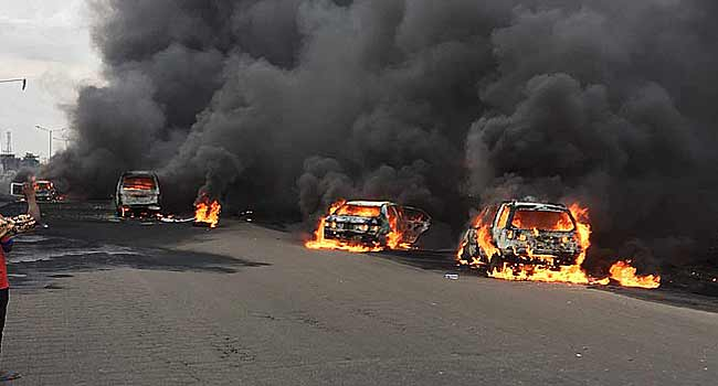 9 dead, 54 vehicles burned as oil truck catches fire after crash