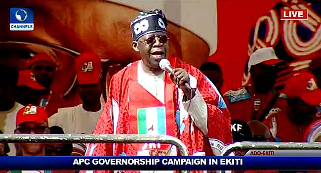 Get Ready To Give PDP Red Card, Tinubu Tells Ekiti Residents