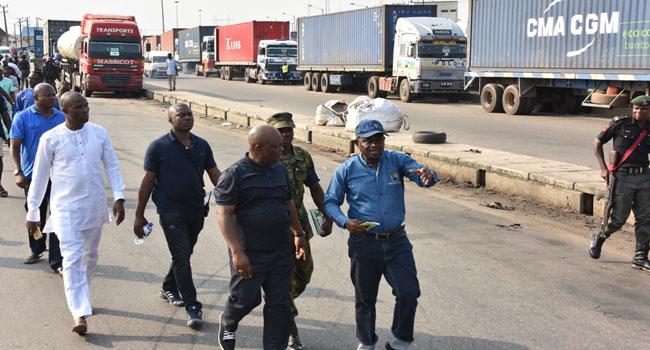 Apapa Gridlock: Lagos Task Force Begins Clearing Trucks On Highways
