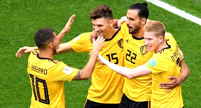 d6d47fcbf0c Belgium s defender Thomas Meunier (2L) is congratulated by teammates after  scoring during their Russia 2018 World Cup play-off for third place  football ...