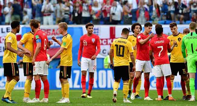 ec1a82aa4b7 England s players congratulate Belgium s ones after Belgium s victory at  the end of their Russia 2018 World Cup play-off for third place football  match ...