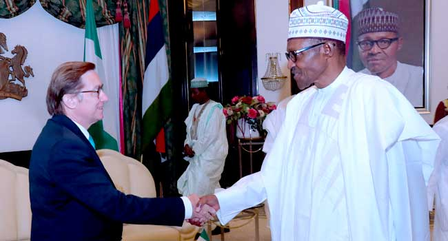 President Muhammadu Buhari receives the outgoing French Ambassador to Nigeria, Mr Denys Gauer, at the State House in Abuja on July 27, 2018.