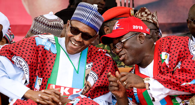 Buhari Asks Ekiti People To 'Grow Beyond Stomach Infrastructure', Vote Fayemi