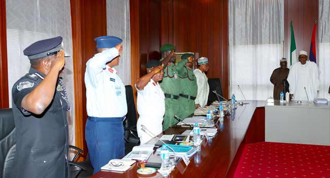 President Buhari Meets With Service Chiefs In Abuja