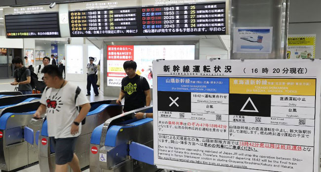 Transportation Disrupted As Typhoon Batters Japan