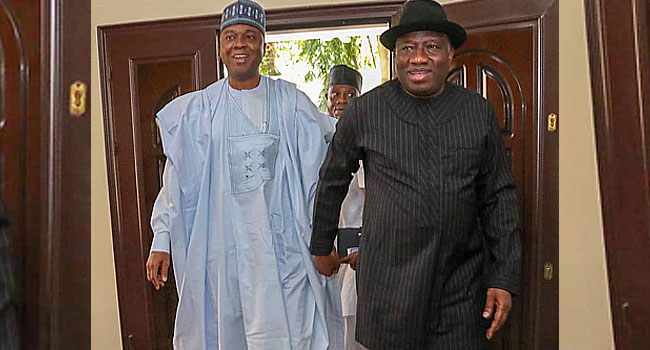 Jonathan Commends Saraki For 'Strong' NASS Leadership