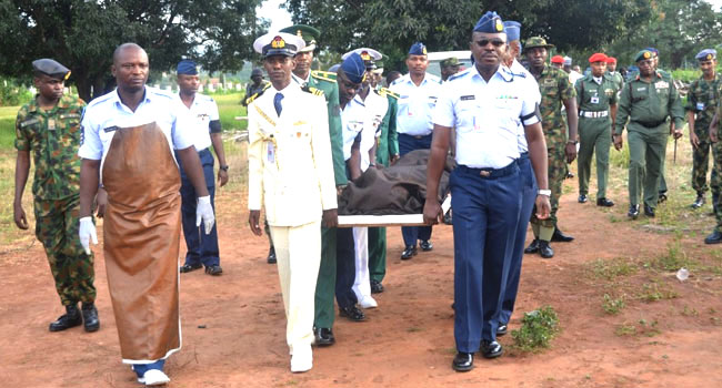Senior Officers Pay Tributes As Nigerian Air Force Pilot Is Buried