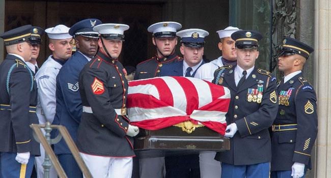 Bush, Obama Extol McCain's Virtues At Washington Funeral