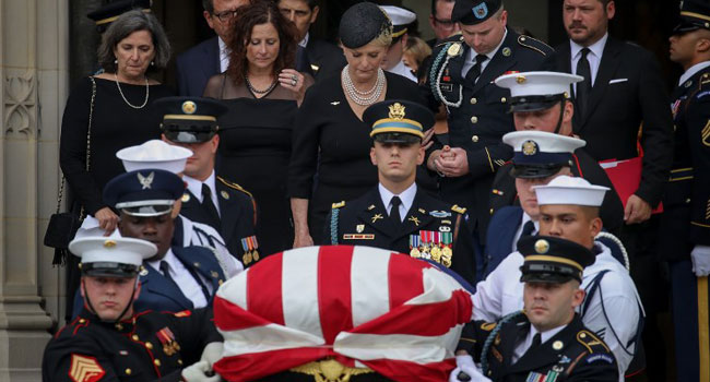 Bush, Obama, Kerry, Others Honour McCain At Funeral