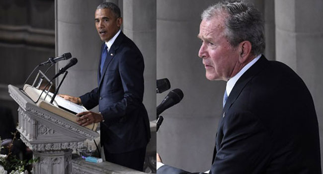 Obama, Bush Lead Dignitaries To McCain's Funeral