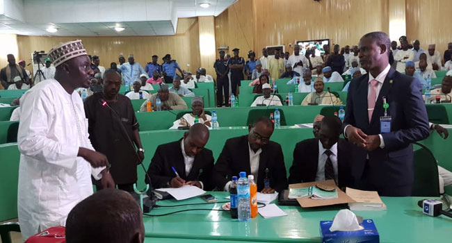 PHOTOS: Jafar Jafar Appears Before Kano Assembly Over Bribery Allegations Against Ganduje