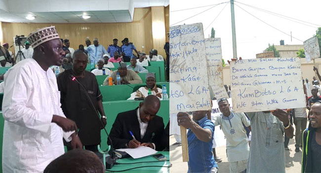 Bribery Allegation Against Ganduje: Protest As Jafar Jafar Appears Before Kano Assembly