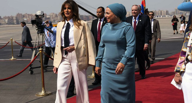 USA  first lady lands in Cairo as last stop in Africa trip