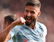 Chelsea's French striker Olivier Giroud celebrates after Chelsea's English midfielder Ross Barkley (unseen) scored his team's second goal during the English Premier League football match between Southampton and Chelsea at St Mary's Stadium in Southampton, southern England on October 7, 2018.