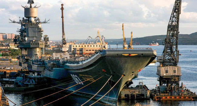 Russia's Only Aircraft Carrier Damaged As Floating Dock Sinks