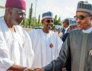 A file photo of President Muhammadu Buhari (R) and his late Chief of Staff, Abba Kyari (L).