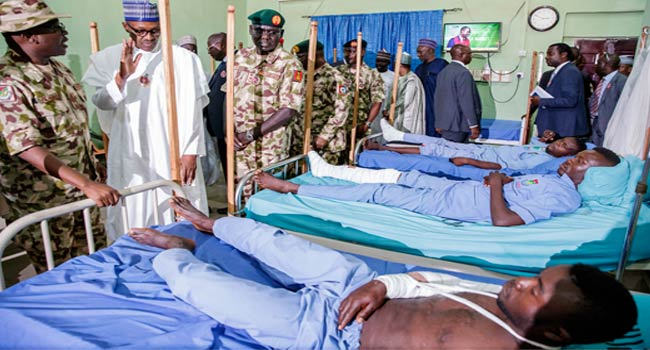 Buhari Attends COAS Conference, Visits Wounded Soldiers In Borno