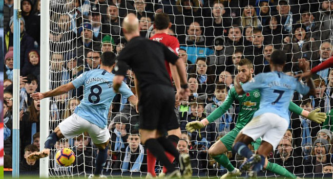 Man City Beat United To Go Top Of Premier League