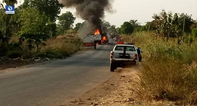Motorists Stranded As Tanker Explodes In Nasarawa