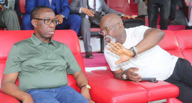 AFCON Qualifiers: Okowa Attends Super Eagles Training, Promises $25,000 Per Goal