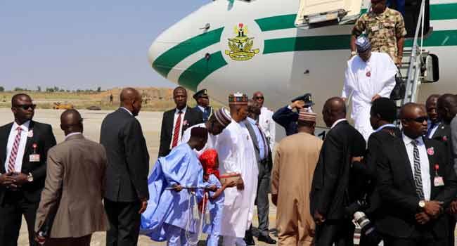 Buhari Arrives In Borno For COAS Conference