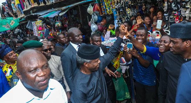 PHOTOS: Osinbajo, Ambode Extend 'TraderMoni' Scheme To Lagos Markets