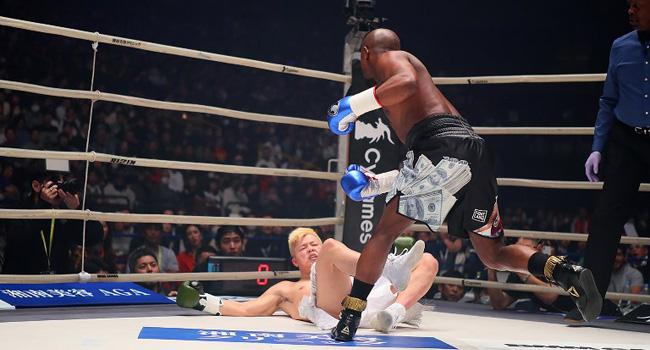 Mayweather Knocks Japan's Nasukawa Out In Two Minutes