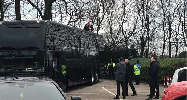 Blackpool Fan Stages 40-Minute Protest On Arsenal Bus' Roof