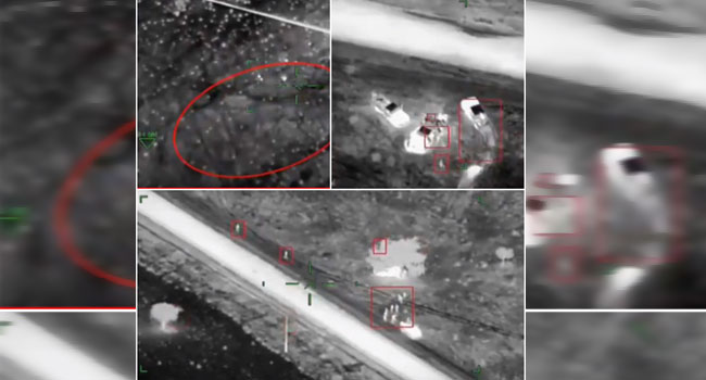 NAF Helicopter Gunship Destroys Terrorist Gun Trucks In Damasak, Borno State