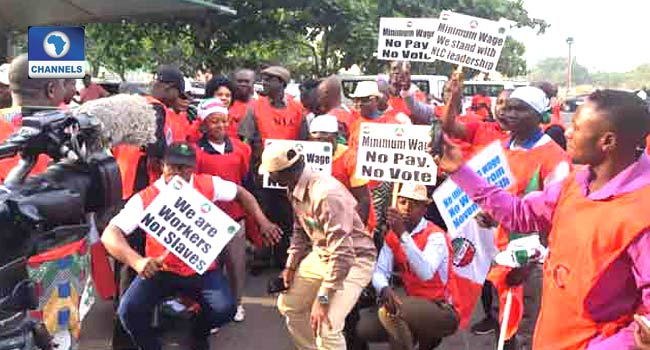 NLC Holds Protest Over New Minimum Wage Across Nigeria