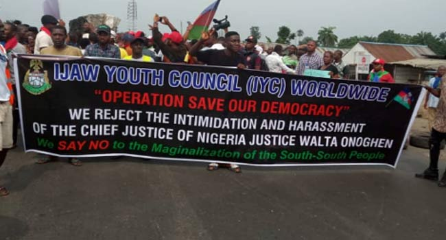 Ijaw Youths Stage Protest Over Suspension Of Justice Onnoghen