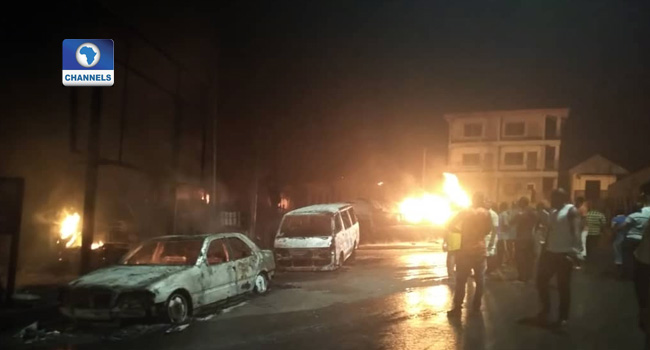 UPDATED: Two Killed, Six Injured As Fuel Tanker Bursts Into Flames In Anambra