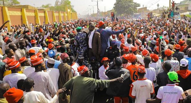 Several People Slump As Massive Crowd Turns Out For Atiku