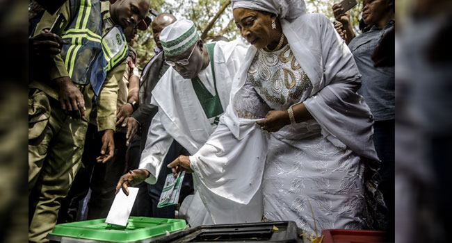 Atiku, Wife Cast Their Votes In Adamawa