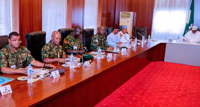 Updated: President Buhari Meets With Governors, Security Chiefs In Abuja