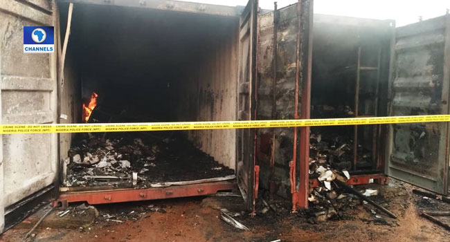 Fire Guts Electoral Materials At INEC Office In Awka