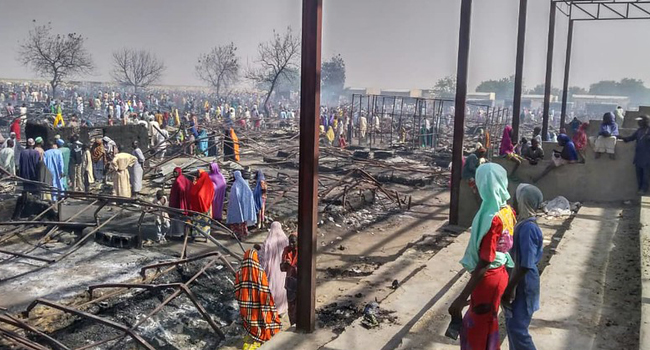 Three Killed As Fire Guts IDP Camp In Borno