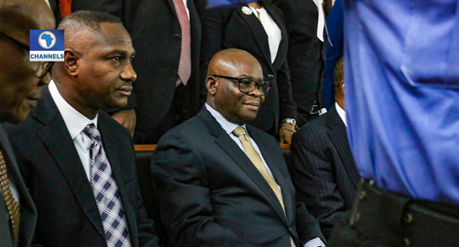 Suspended CJN, Walter Onnoghen, arrives at the CCT on Friday (February 15, 2019) for his trial on non-declaration of assets. Photo: Channels TV/ Soqiq Adelequn