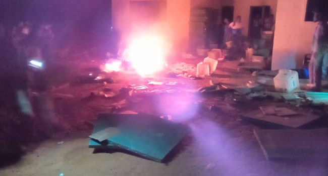INEC Office Attacked, Electoral Materials Burnt [Photos]