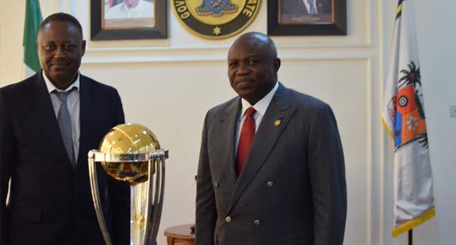 Ambode Receives Cricket Trophy In Lagos