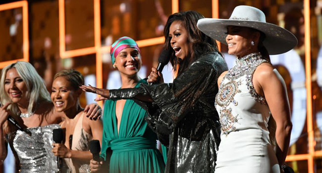 Michelle Obama Steals Show At The Grammys, Delights Crowd With Girl Power Message
